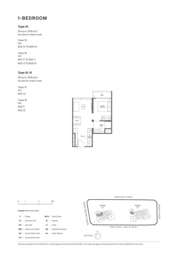 Midtown Modern Floor Plan 1 Bedroom Type A1