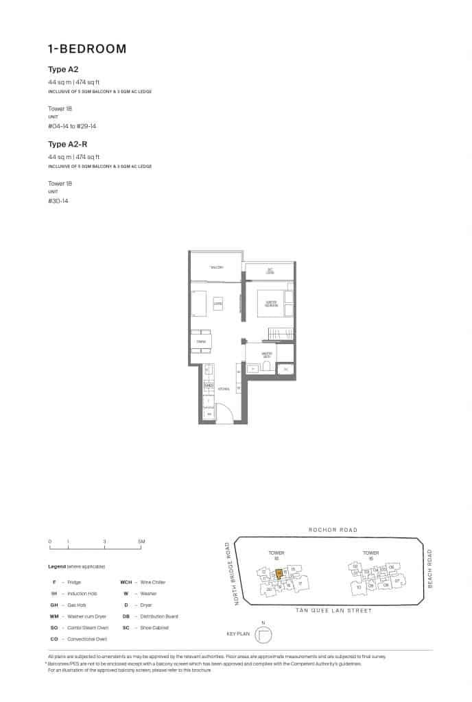Midtown Modern Floor Plan 1 Bedroom Type A2
