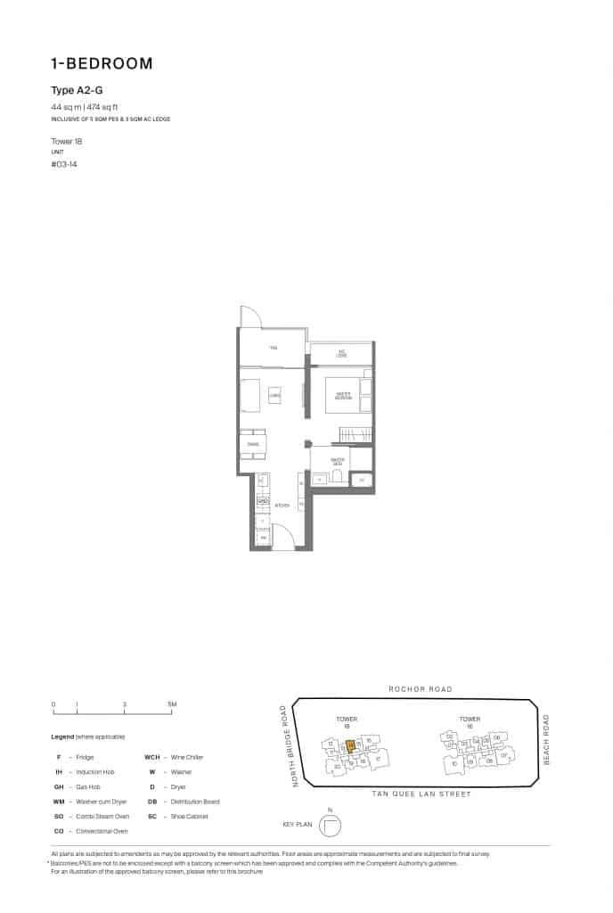 Midtown Modern Floor Plan 1 Bedroom Type A2-G