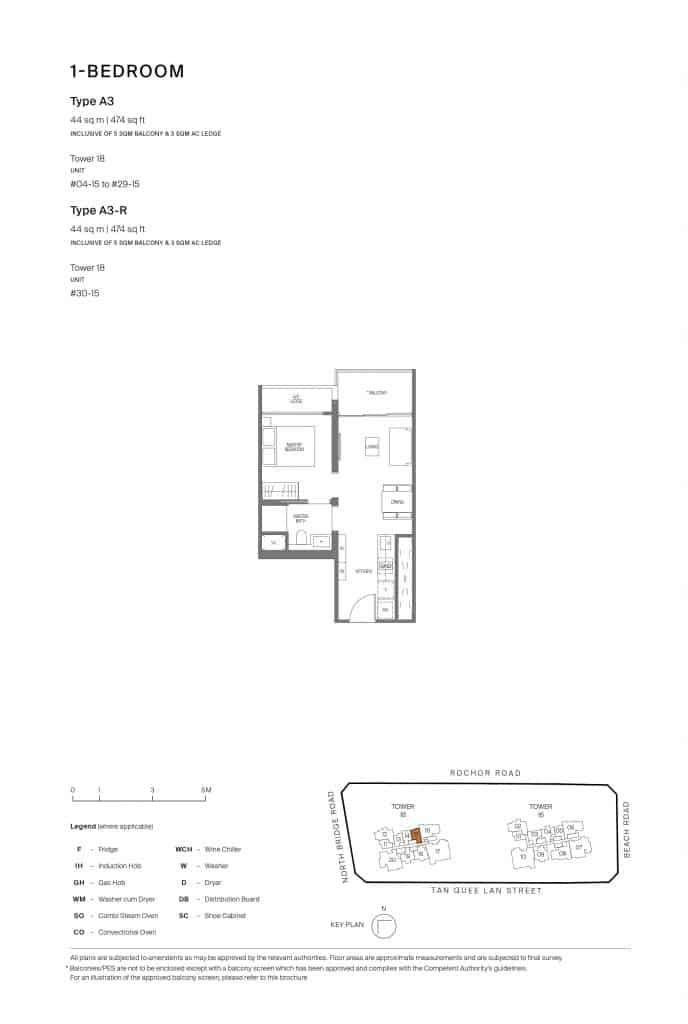Midtown Modern Floor Plan 1 Bedroom Type A3
