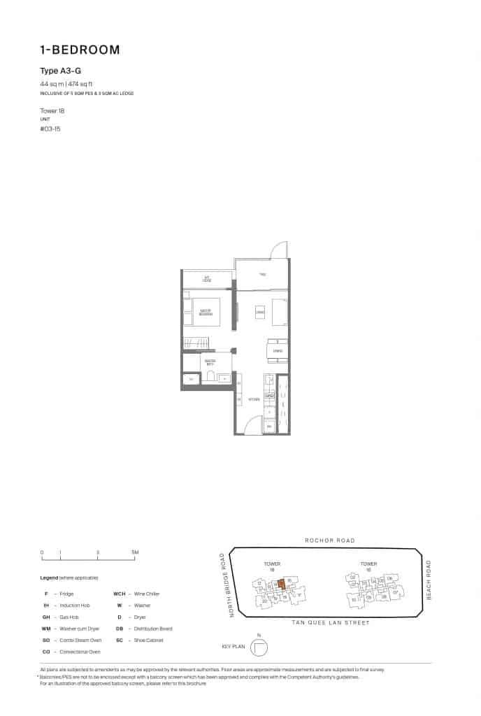 Midtown Modern Floor Plan 1 Bedroom Type A3-G