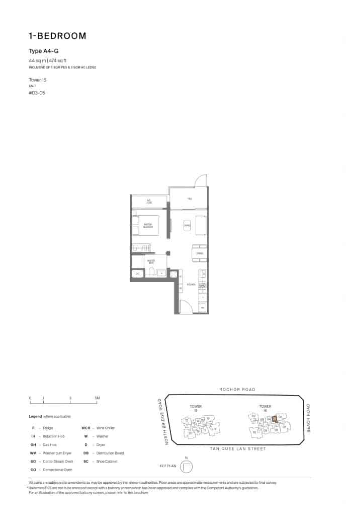 Midtown Modern Floor Plan 1 Bedroom Type A4-G