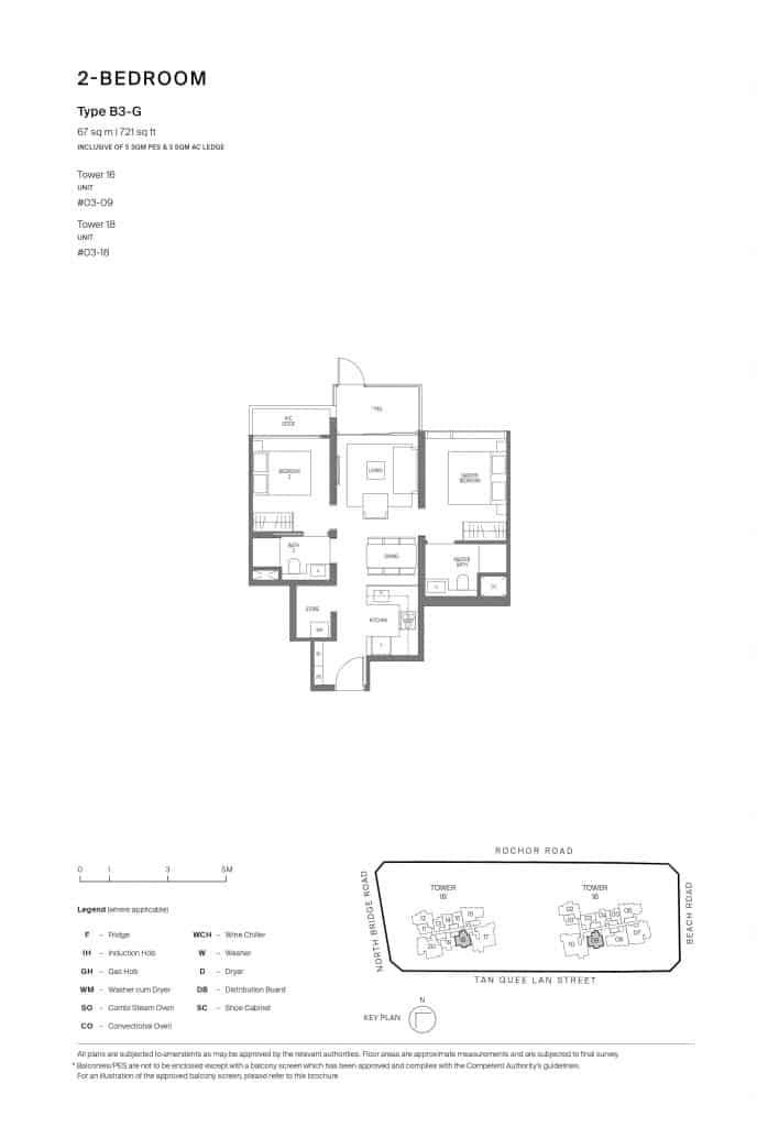 Midtown Modern Floor Plan 1 Bedroom Type B3-G