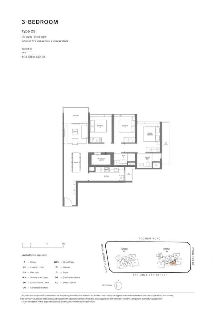 Midtown Modern Floor Plan 1 Bedroom Type C3