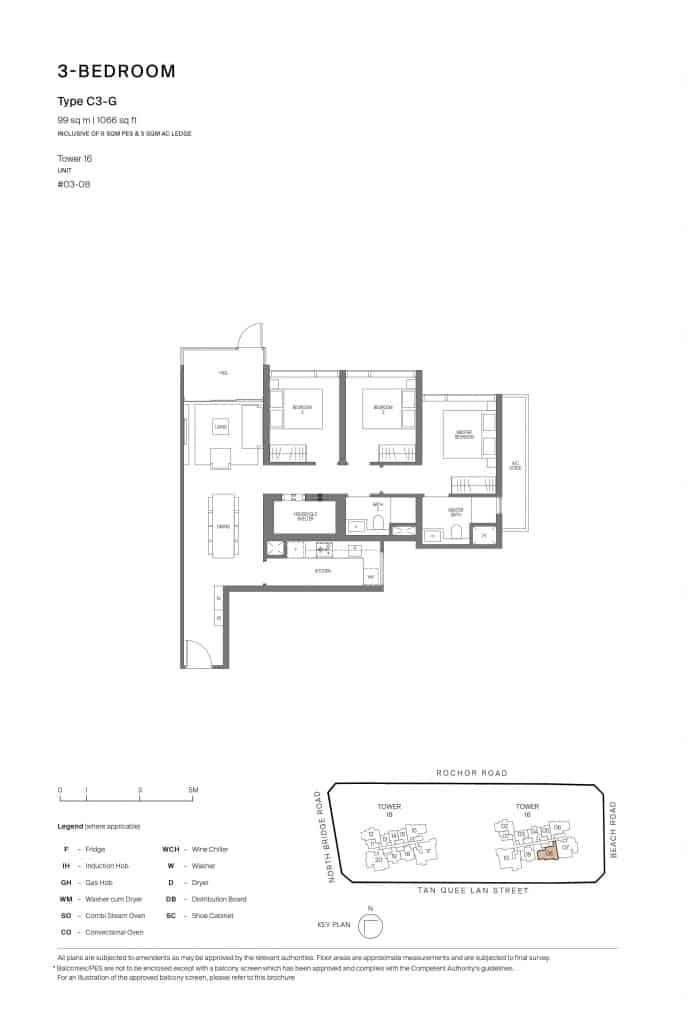 Midtown Modern Floor Plan 1 Bedroom Type C3-G