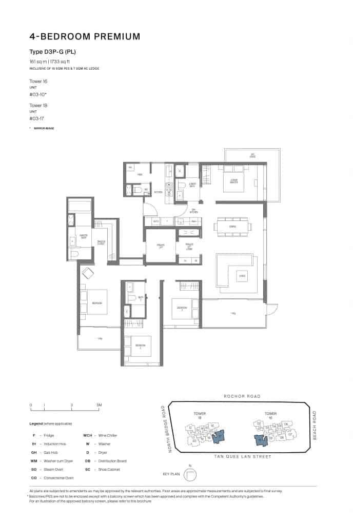 Midtown Modern Floor Plan 1 Bedroom Type D3P-G